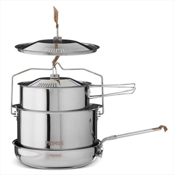 Primus Campfire Cookset Stainless Steel Camp Cookware, Large Silver