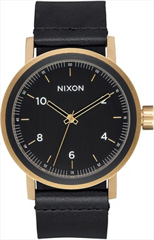 Nixon Stark Leather Men's Watch, OS All Black/Gold