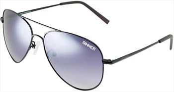 Sinner Morin Pilot/Aviator Smoke Anti Slip Sunglasses, Black Metal