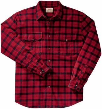 Filson Alaskan Guide Button Up Long Sleeve Shirt, XL Red Black