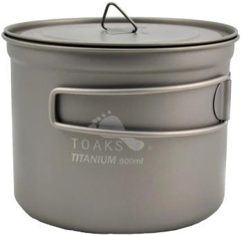Toaks Titanium Pot D115 Ultralight Camping Cookware, 900ml Grey