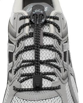 Lock Laces No-Tie Replacement Elastic Shoelaces, Black