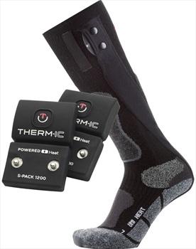 Therm-ic Powersock Set Uni S1200 Heated Ski Socks, Large Black
