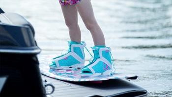 Ronix August Kids Wakeboard Binding, UK 1.5-5.5 White Blue 2021