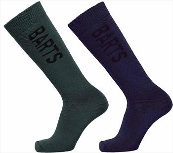 Barts Basic 2 Pack Ski/Snowboard Socks UK 6-8 Navy & Bottle Green