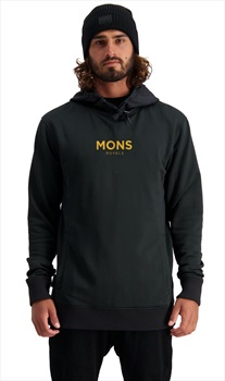 Mons Royale Decade Logo Hoody Merino DWR Midlayer, XL New Black