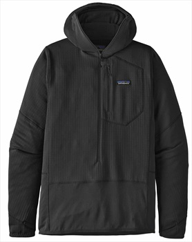 Patagonia Adult Unisex R1 Fleece Pullover Hoody Mid Layer, L Black