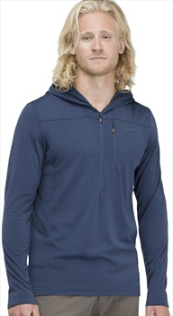 Norrona Adult Unisex Svalbard Wool Hood 1/2 Zip Hoodie, Xl Indigo Night