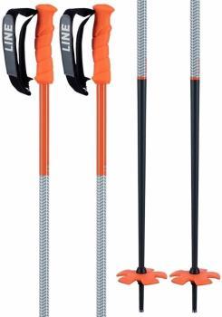 LINE Grip Stick Pair Of Ski Poles, 125cm Orange/Grey
