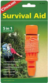 Coghlan's 5-in-1 Survival Aid Outdoor Pocket Multi-tool, Orange