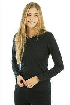 Silkbody Silkspun Zip Neck Women's L/S Baselayer Top, XS Black
