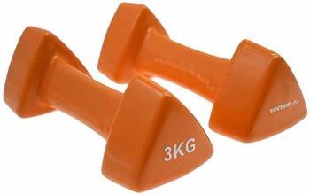 Vector X Adult Unisex Triangular Vinyl Fitness Dumbbells, 3kg Orange