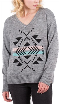 Passenger Sycamore Knitted Sweater Women's V-neck Jumper, M Grey Marl