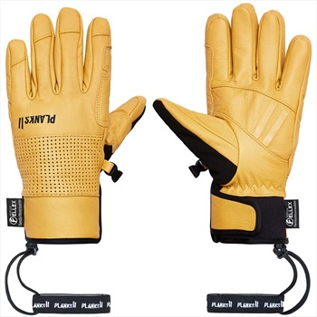 Planks Hunter Leather Insulated Ski/Snowboard Gloves, M Sunset Yellow