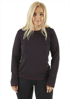 Silkbody Silkspun Contrast Stitch Women's L/S Baselayer Top, L Purple