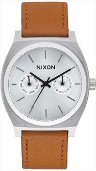 Nixon Time Teller Deluxe Leather Men's Watch Silver Sunray/Saddle