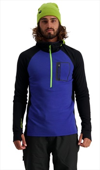 Mons Royale Traverse Midi Half Zip Hood Midlayer, L Ultra Blue/Black