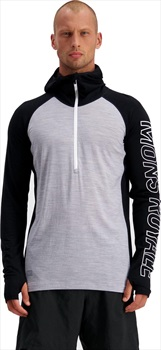 Mons Royale Temple Tech Hood Merino Thermal Top, L Black/Grey Marl