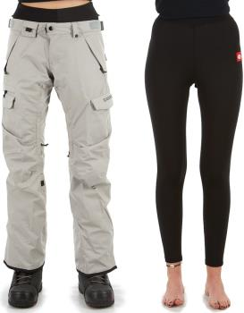 686 Smarty Cargo 3-In-1 Women's Ski/Snowboard Pants, S Lt Grey