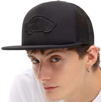 Vans Classic Patch Trucker Hat Flat Brim Cap, Black