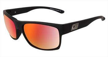 Dirty Dog Furnace Grey/Red Fusion Polarized Sunglasses, Satin Black