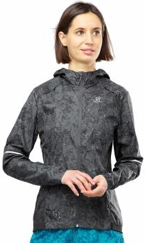 Salomon Agile Wind Print Hoodie Windproof Jacket, L Ebony