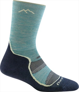 Darn Tough Womens Light Hiker Micro Crew Women's Hiking Socks, L Aqua