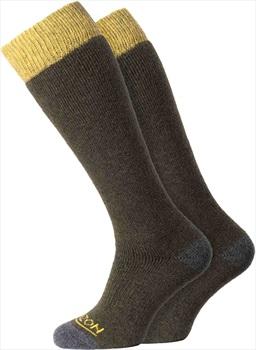 Horizon Heritage Winter Sport 2pk Merino Socks, UK 4-7 Olive/Yellow