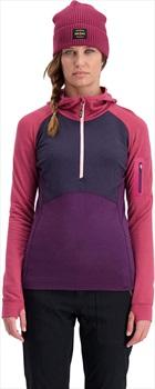 Mons Royale Ascend Midi Women's Half Zip Hoodie, XS Eggplant/9 Iron