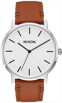 Nixon Mens Porter Leather Men's Wrist Watch, White Sunray/Saddle