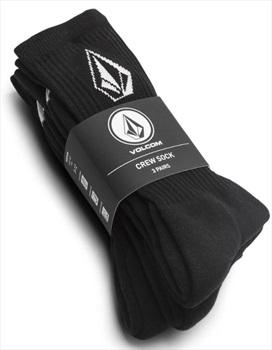 Volcom Adult Unisex Full Stone 3-Pack Crew Socks, One Size Black