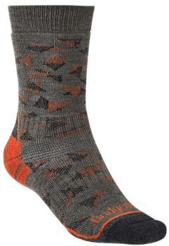 Bridgedale Hike Midweight Men's Hiking Socks, L Brown/Orange