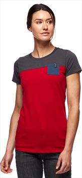 Black Diamond Campus Womens T-shirt, M Vermillion/Carbon/Ink Blue