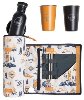 United By Blue Drink Kit Water Bottle & Cup Set, 650ml Tawny
