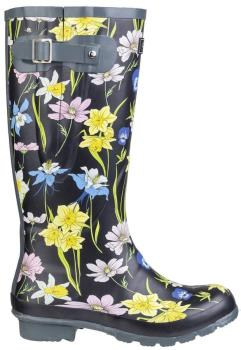 Cotswold Windsor Print Women's Wellington Boots, UK 8 Black Floral