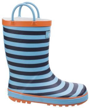 Cotswold Captain Stripy Kids' Wellington Boots, UK Child 10 Blue
