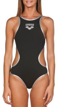 arena One Big Logo Women's One-Piece Swimsuit, UK 36 Black Silver