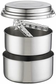 MSR Alpine 2-Pot Set Stainless Camping Cookware, 2L Silver