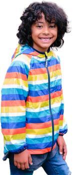 Muddy Puddles Ecolight Kids Waterproof Jacket, 7-8yrs Rainbow Stripe