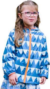Muddy Puddles Ecolight Kids Waterproof Jacket, 4-5yrs Blue Triangles