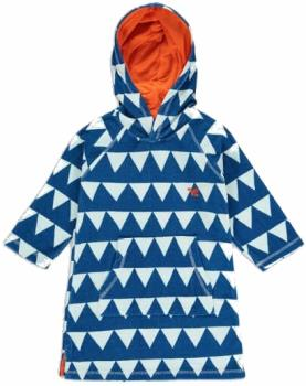 Muddy Puddles Towelling Poncho Kids Robe, 5-6yrs Blue Triangles