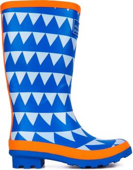 Muddy Puddles Puddlestomper Kids Wellies, UK 1 Blue Triangles