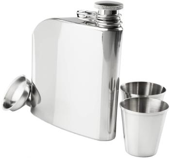 GSI Outdoors Stainless Steel Trad Flask Set Flask & Shot Glasses