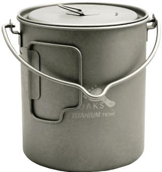 Toaks Titanium Pot + Bail Handle Ultralight Camping Cookware, 750ml