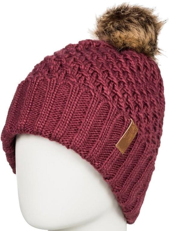 Roxy Blizzard Pom Pom Beanie Women's Bobble Knit Hat, Oxblood Red