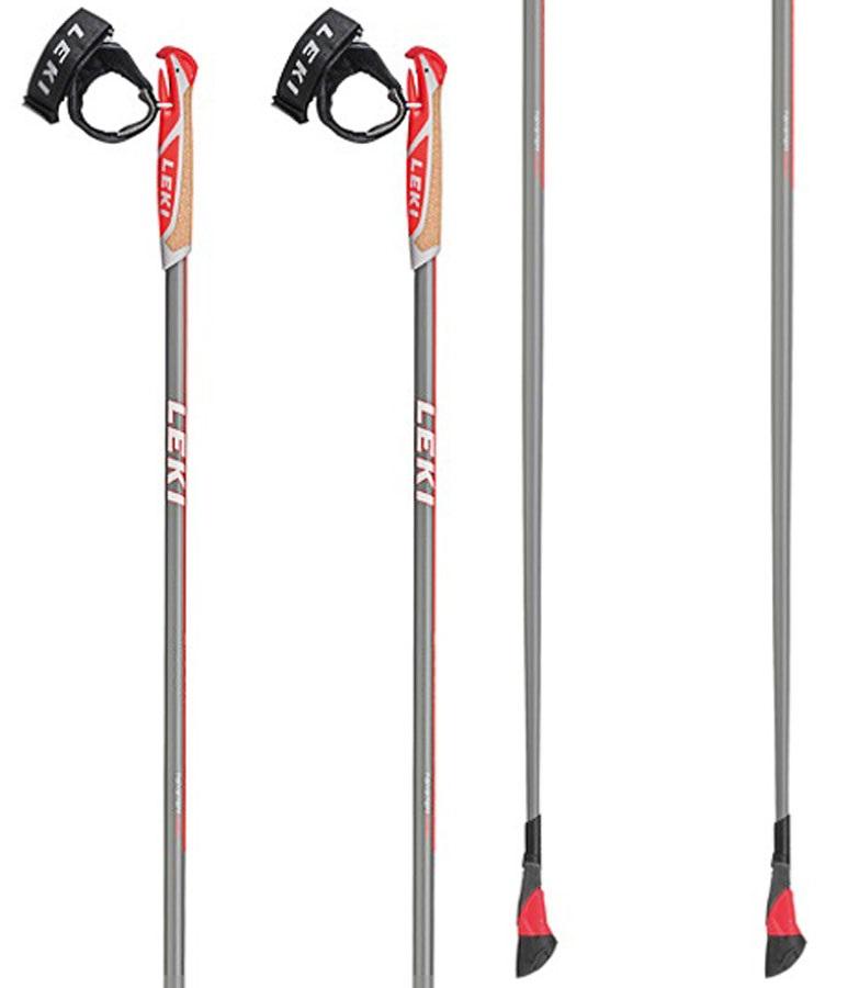 Leki Smart Carat Lightweight Nordic Walking Poles, 125cm Grey/Red