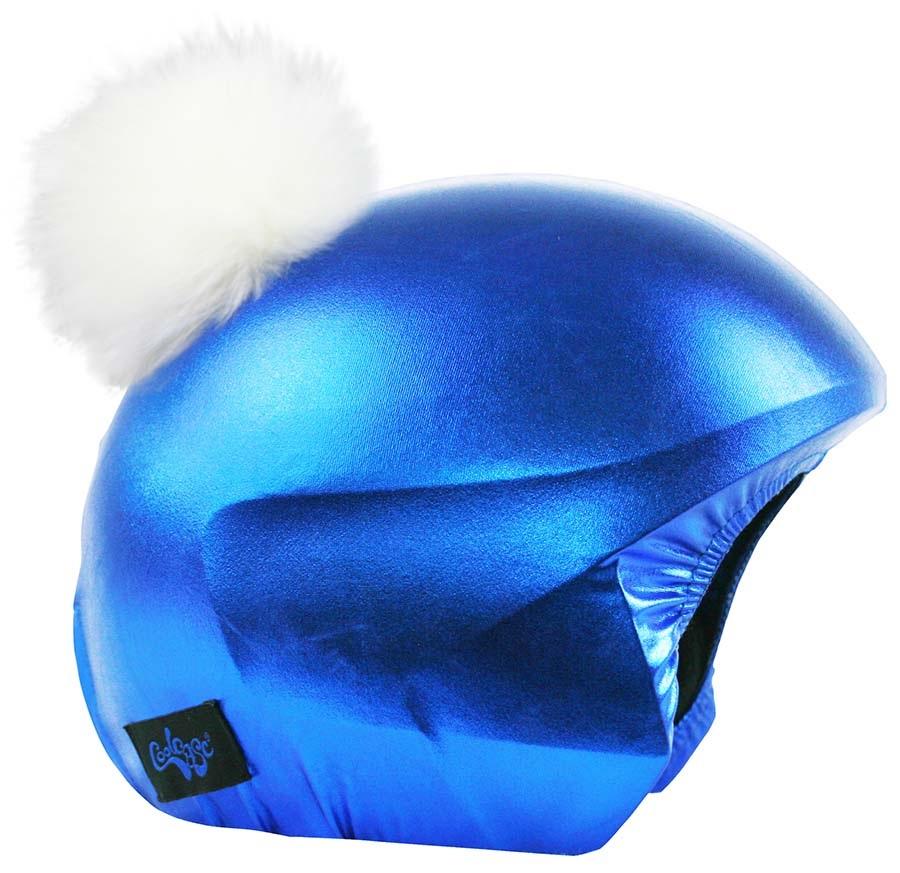 Coolcasc Exclusive Ski/Snowboard Helmet Cover, Blue/White Pom Pom