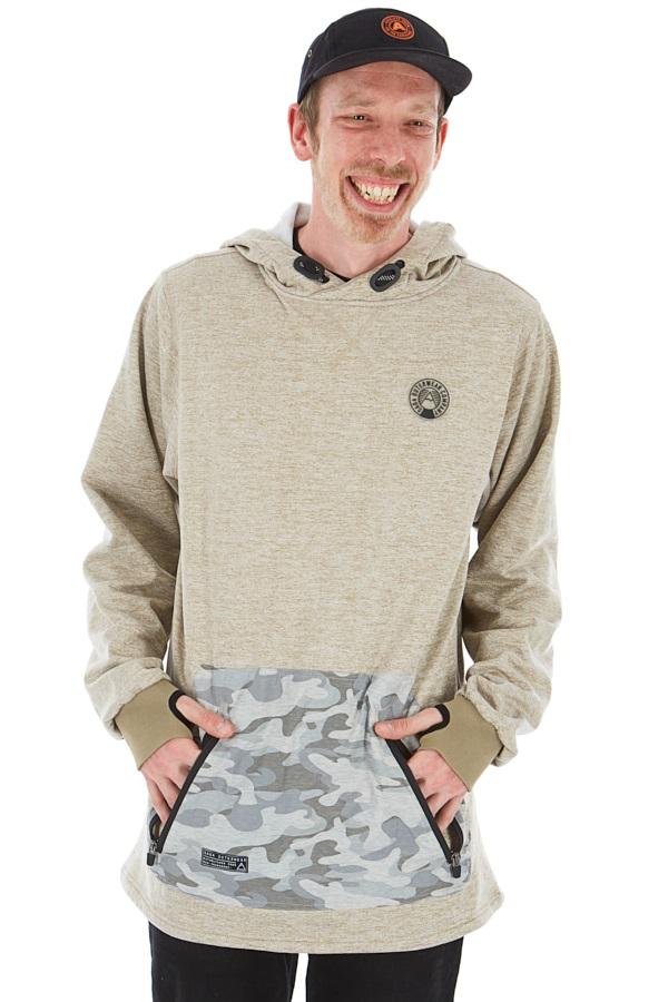 Saga Fleece Riding Pullover Technical Hoodie/ Midlayer, XL Khaki