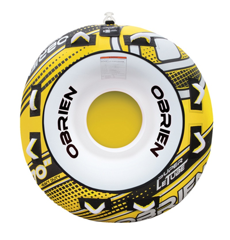 O'Brien Super Le Tube Round Towable Inflatable Tube, 2 Rider Yellow