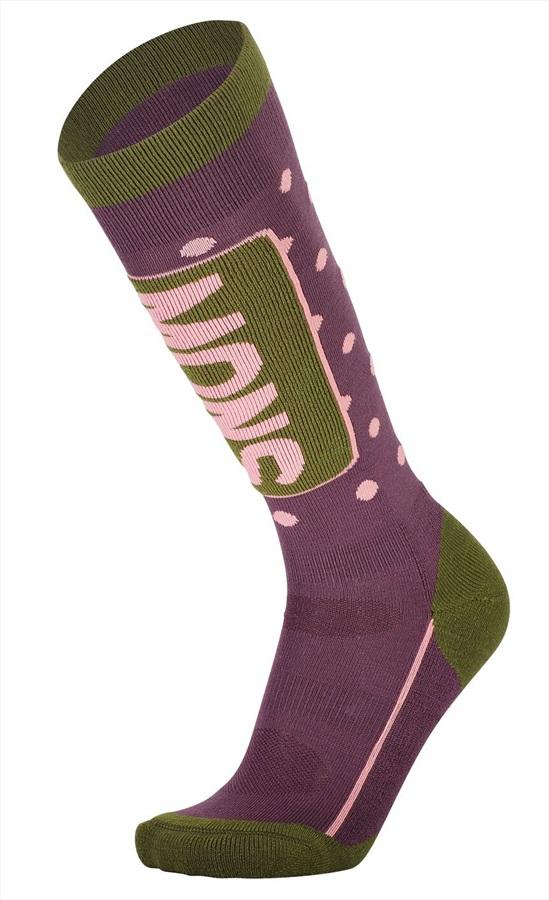 Mons Royale Womens Mons Tech Cushion Women's Merino Ski Socks, S Blackberry